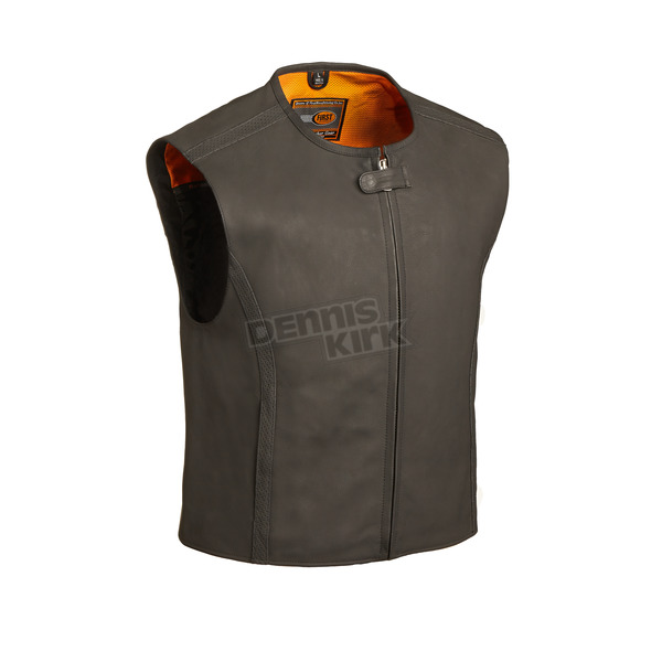 First Manufacturing Co. Black The Cleveland Leather Vest - FIM-615-CM-5X-3X