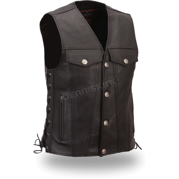 First Manufacturing Co. Black The Rushmore Leather Vest - FIM-616-CFD-L