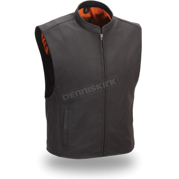 First Manufacturing Co. Black Club House Leather Vest - FIM-656-CSL-5X-3X