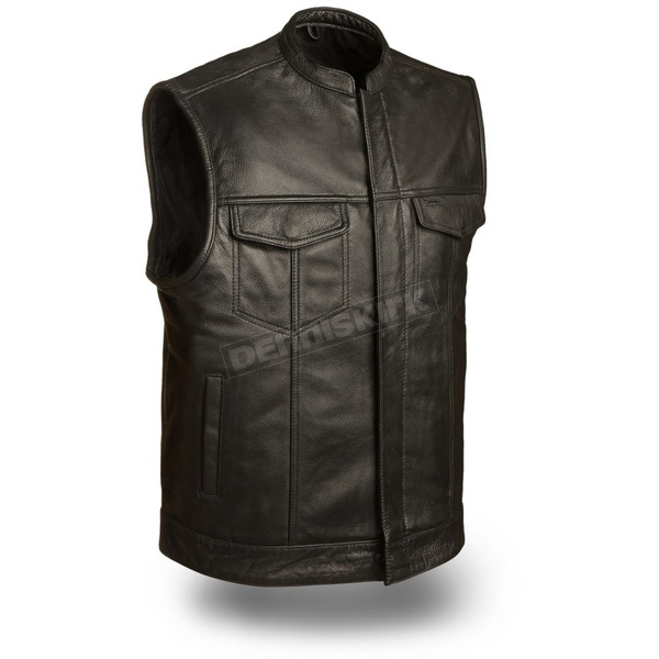 First Manufacturing Co. Black Blaster Leather Vest - FMM-690-BSF-XL