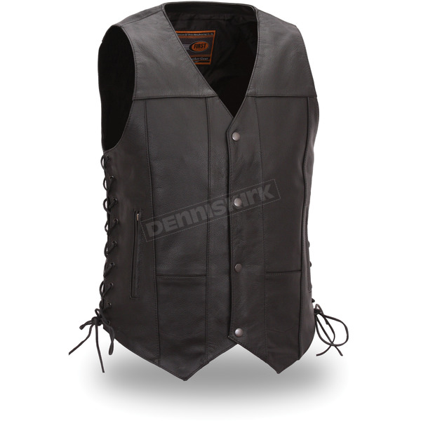 First Manufacturing Co. Black Top Biller Leather Vest - FIM-630-CFD-M