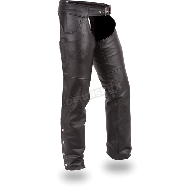 First Manufacturing Co. Black Stampede Leather Chaps - FIM-835-NOC-M