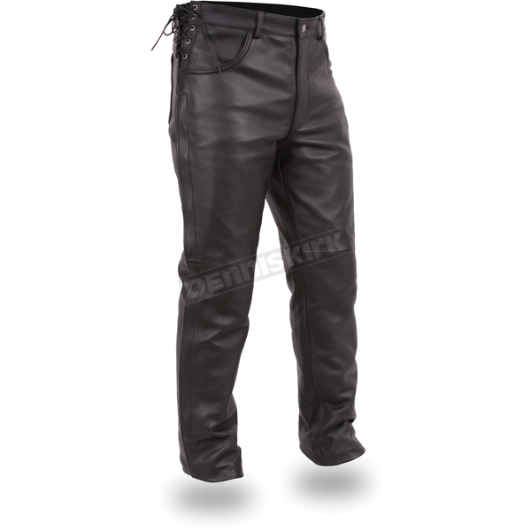 First Manufacturing Co. Black The Baron Leather Overpants - FIM-807-CFD-42