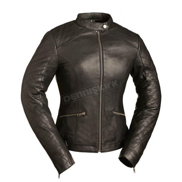 First Manufacturing Co. Women's Black Diamonds Leather Jacket - FIL-166-CCBZ-2X