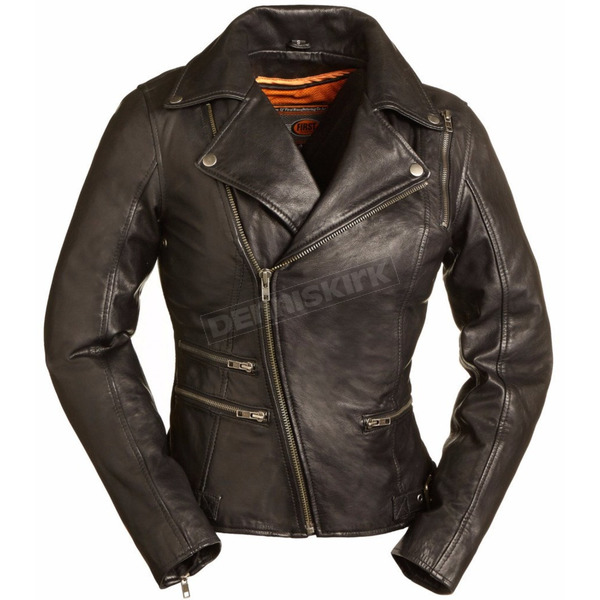 First Manufacturing Co. Women's Black The Monte Carlo Leather Jacket - FIL-160-NOCZ-5X-3X