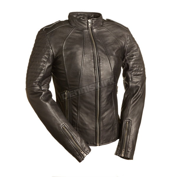 First Manufacturing Co. Women's Black Sexy Biker Leather Jacket - FIL-104-CHMZ-L