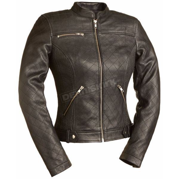First Manufacturing Co. Women's Black Queen of Diamonds Leather Jacket - FIL-115-SCZ-S