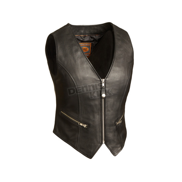 First Manufacturing Co. Women's Black The Montana Leather Vest - FIL-515-CSL-M
