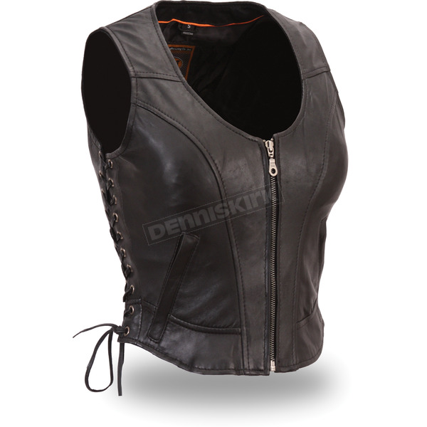First Manufacturing Co. Women's Black The Raven Vest - FIL-542-GDD-XL