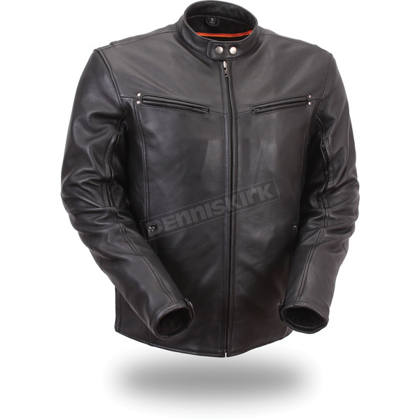 First Manufacturing Co. Black Apollo Leather Jacket - FIM-257-NOCZ-5X-3X