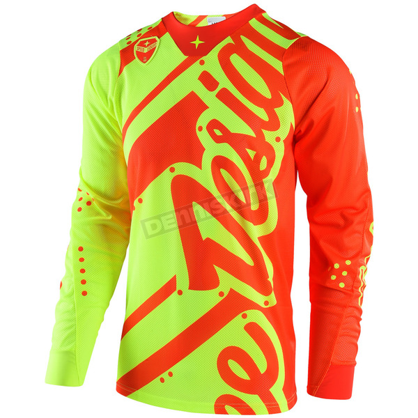 Troy Lee Designs Youth Fluorescent Yellow/Orange GP Shadow Jersey - 309499574