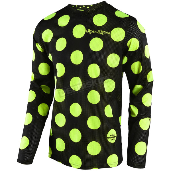 Troy Lee Designs Black/Fluorescent Yellow GP Air Polka Dot Jersey - 304491253