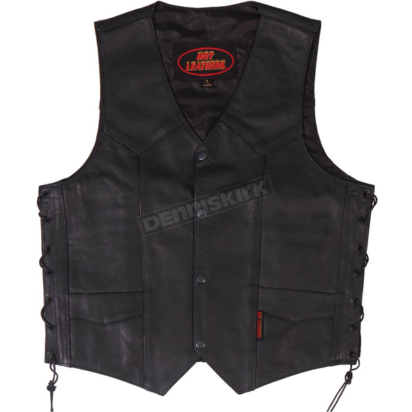 Hot Leathers Heavy Leather Vest w/Side Laces - VSM1033XXXL