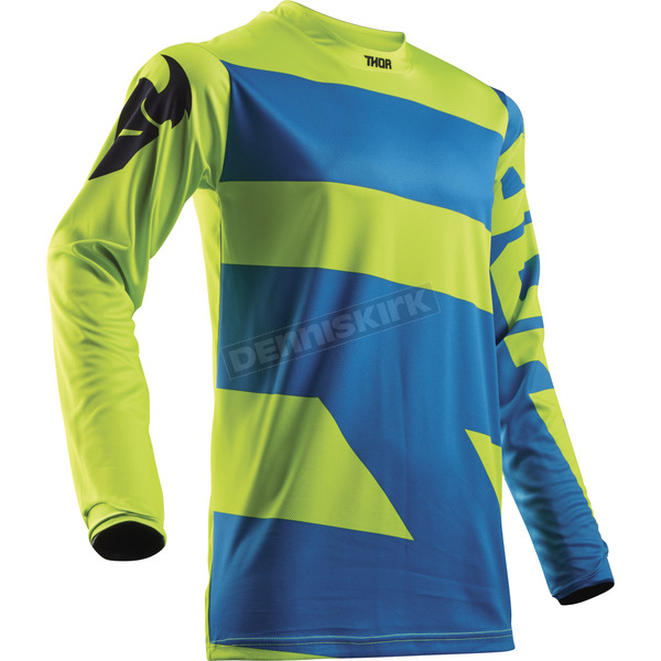 Thor Youth Electric Blue/Lime Pulse Level Jersey - 2912-1494