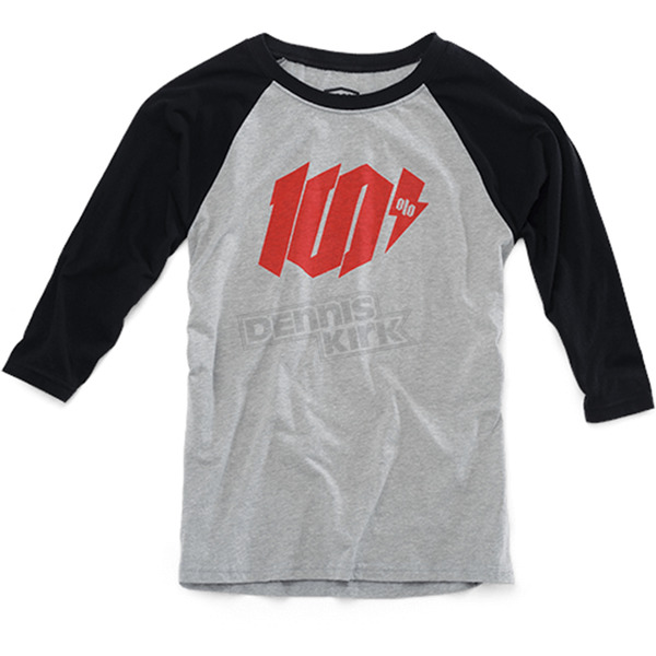 100% Heather Gray/Black Youth Bolt T-Shirt  - 34066-188-05