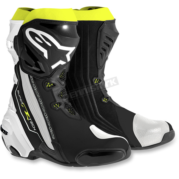 Alpinestars Black/White/Flo Yellow Supertech R Boots - 2220015-125-39
