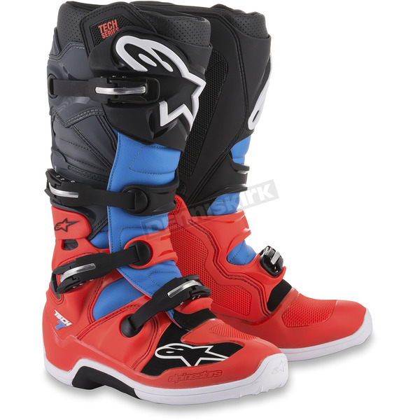 Alpinestars Fluorescent Red/Cyan/Grey/Black Tech 7 Boots - 2012014-3711-11