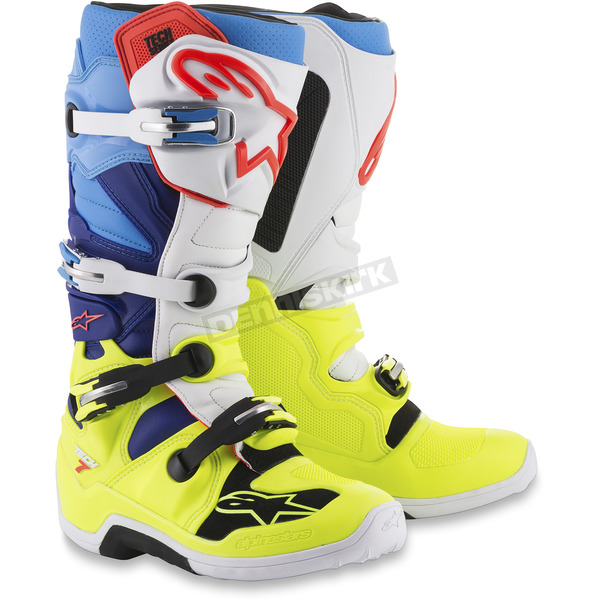 Alpinestars Fluorescent Yellow/White/Blue/Cyan Tech 7 Boots - 2012014-5277-16