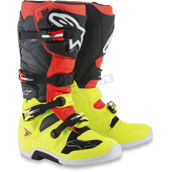 Alpinestars Fluorescent Yellow/Fluorescent Red/Gray/Black  Tech 7 Boots - 2012014-5301-6