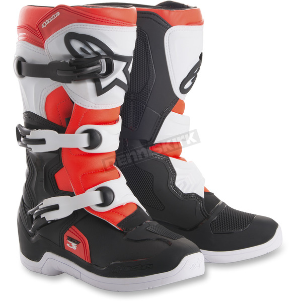 Alpinestars Youth Black/White Red Tech 3S Boots - 2014018-1231-3