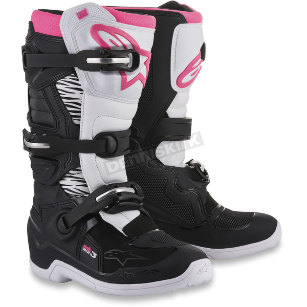 Alpinestars Stella Womens Black/White/Pink Tech 3 Boots - 2013218-130-8