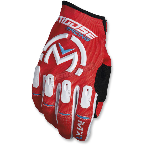 Moose Red/White MX1 Gloves  - 3330-4493