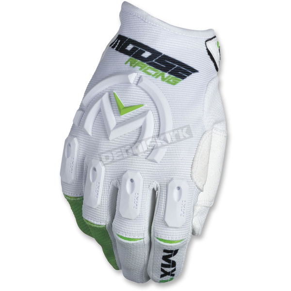 Moose White/Green MX1 Gloves - 3330-4519