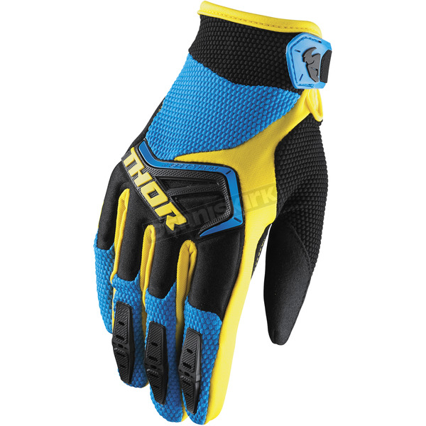 Thor Youth Blue/Black/Yellow Spectrum Gloves - 3332-1197