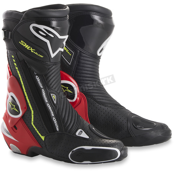 Alpinestars Black/Fluorescent Red/White/Fluorescent Yellow SMX Plus Boots - 2221015-1326-48