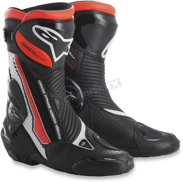 Alpinestars White/Black/Fluorescent Red SMX Plus Boots - 2221015-235-38
