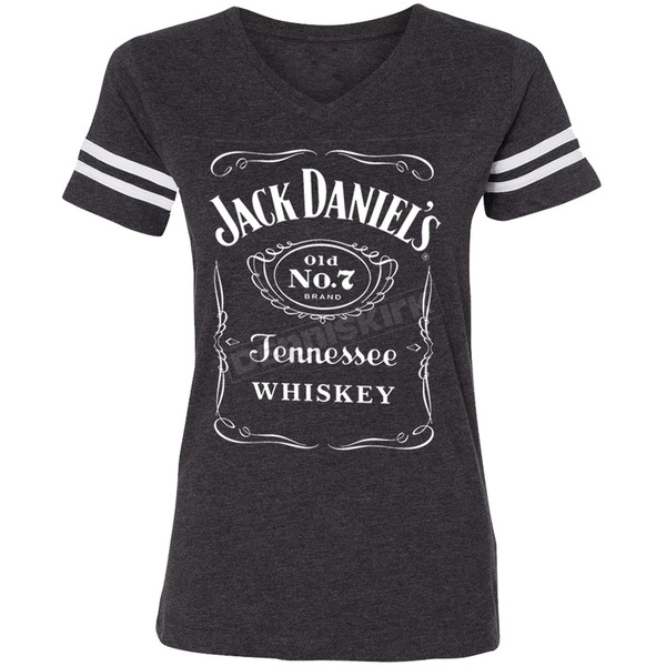 Jack Daniels Women's Charcoal Gray Label Football T-Shirt - 15361499JD-79-S