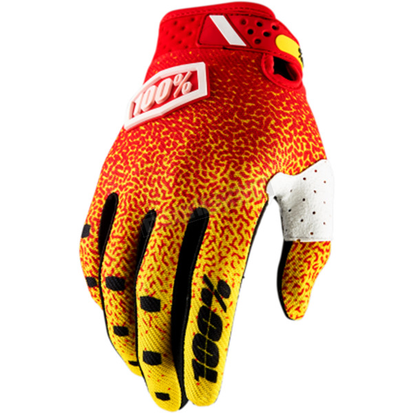 100% Red/Yellow Ridefit Gloves - 10001-037-13