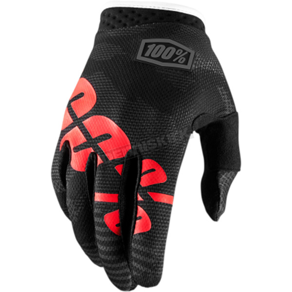 100% Youth Black Camo I-Track Gloves - 10002-061-04