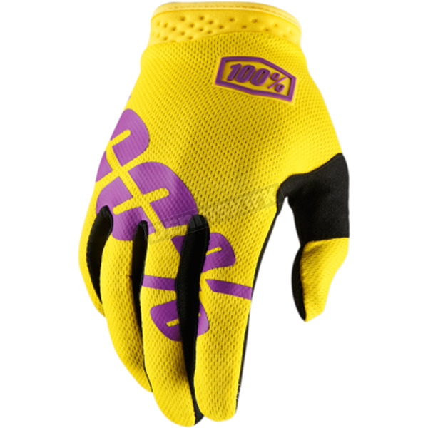 100% Yellow I-Track Gloves - 10002-115-14