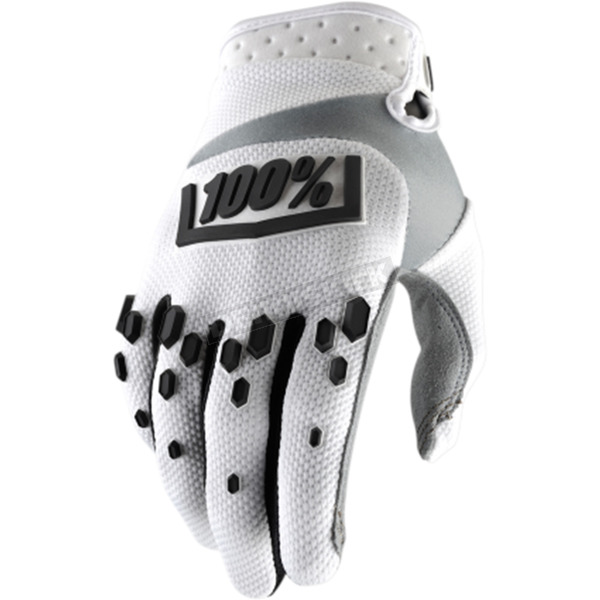 100% White/Black Airmatic Gloves - 10004-010-14