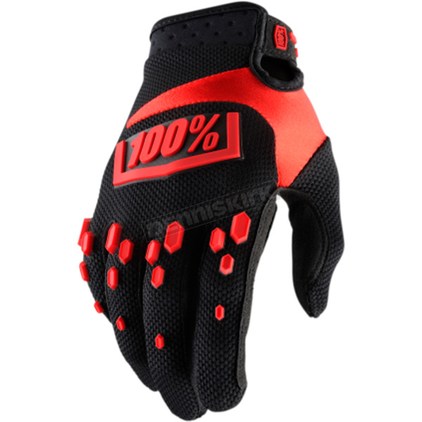 100% Black/Red Airmatic Gloves - 10004-013-11