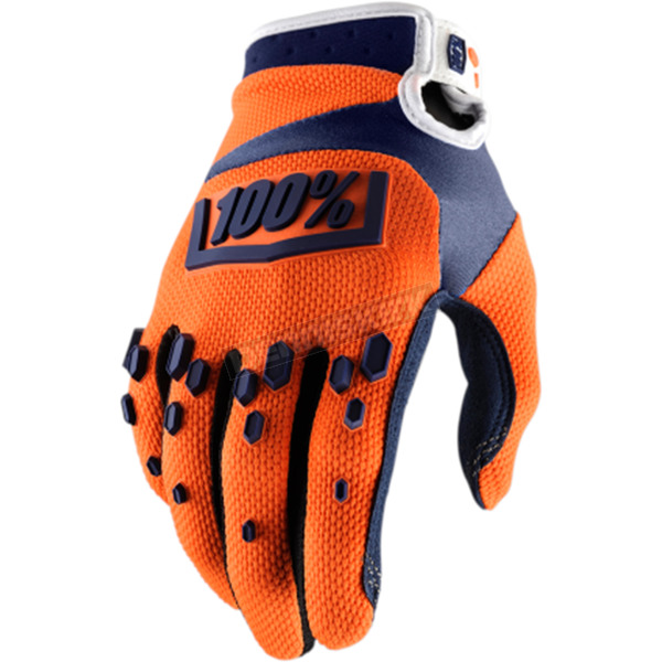 100% Youth Orange/Navy Airmatic Gloves  - 10004-036-05