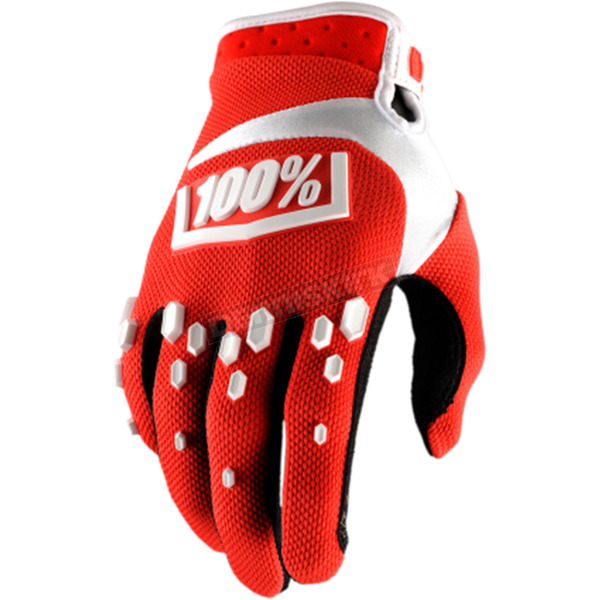 100% Red/White Airmatic Gloves - 10004-087-10