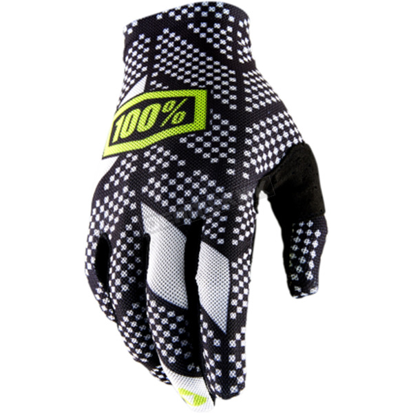 100% Celium 2 Code Black/White Gloves - 10009-013-11