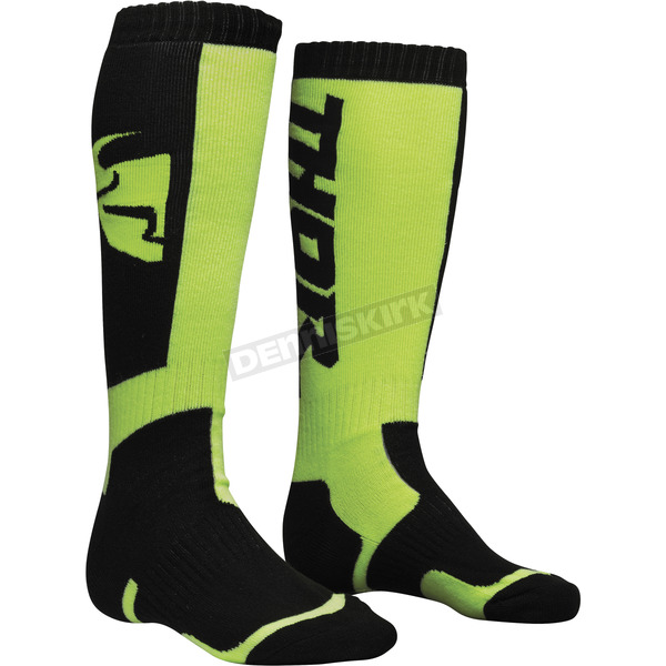 Thor Black/Lime MX Socks - 3431-0375