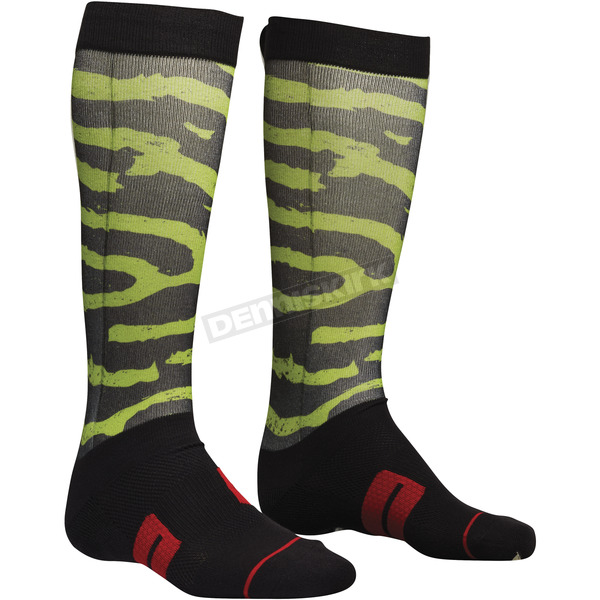 Thor Black/Lime/Red Moto Sub Rampant Socks - 3431-0388