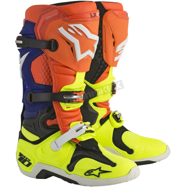 Alpinestars Orange/Blue/Yellow Tech 10 Boots - 2010014-475-12