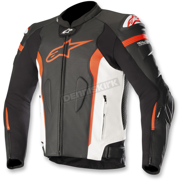 Alpinestars Black/White/Flo Red Missile Leather Jacket  - 3100118-1231-60