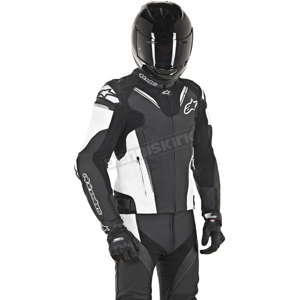 Alpinestars Black/White Atem Leather Jacket v3 - 3106518-12-60