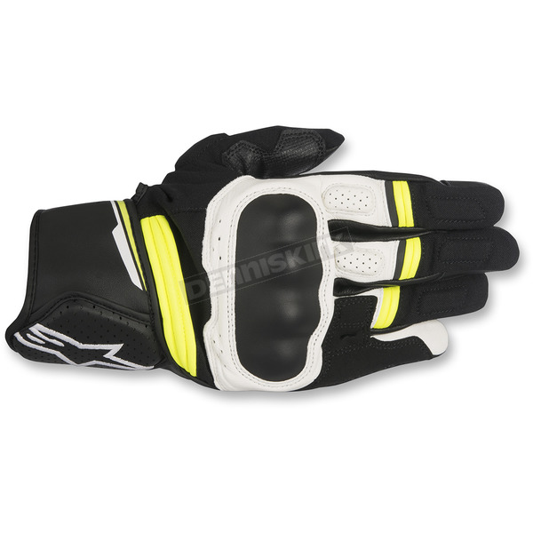 Alpinestars Black/White/Fluorescent Yellow Booster Leather Gloves - 3566917-125-3X