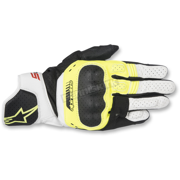 Alpinestars Black/Fluorescent Yellow/White SP-5 Leather Gloves - 3558517-158-S