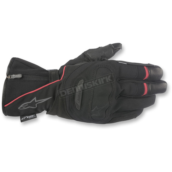 Alpinestars Black/Red Primer Drystar Leather Gloves - 3528418-13-S