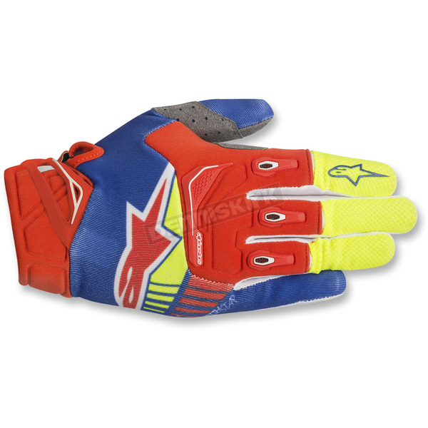 Alpinestars Blue/Red/Fl. Yellow Techstar Gloves - 3561018-7355-LG