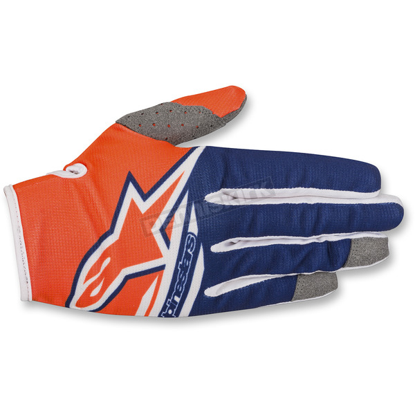 Alpinestars Fl. Orange/Dark Blue/White Radar Flight Gloves - 3561818-473-SM