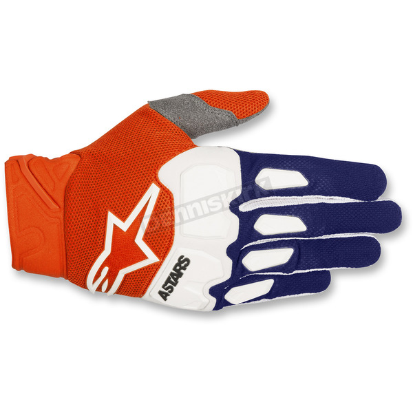 Alpinestars Dark Blue/Fluo. Orange/White Racefend Gloves - 3563518-7043-2X